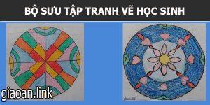 Tranh vẽ học sinh trang trí hình tròn