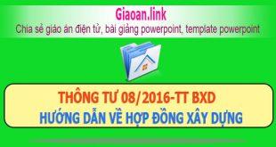 Thông tư 08/2016-tt bxd