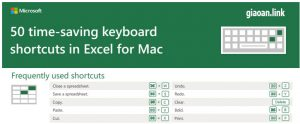 50 phím tắt excel cho mac