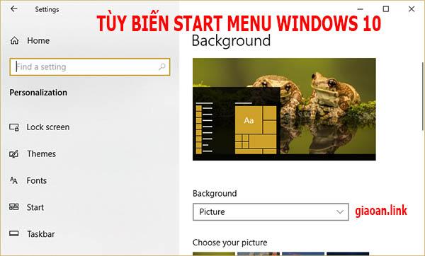 tùy chỉnh start menu trong windows 10