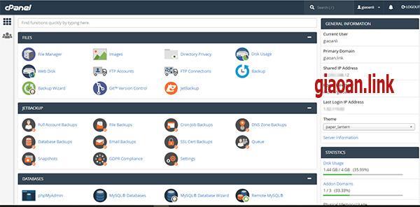 cPanel trên dịch vụ hosting azdigi