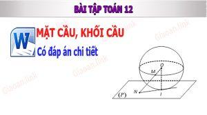 bài tập toán mặt cầu khối cầu