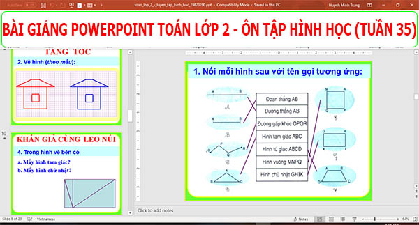 bai giang powerpoint toan lop 2 tuan 35 on tap hinh hoc