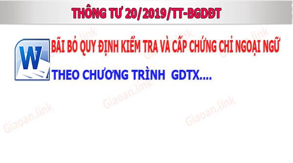 Thông tư số 20-2019-TT-BGDĐT