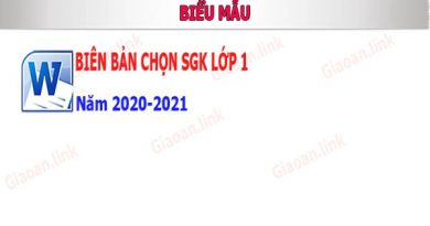 bien ban chon sgk lớp 1