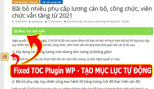 Su dung plugin Fixed TOC tao de muc tu dong