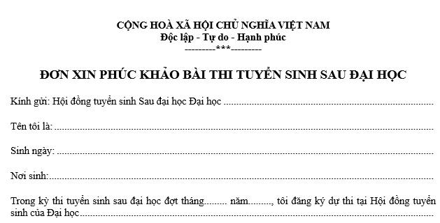 don xin phuc khao bai thi sau dai hoc