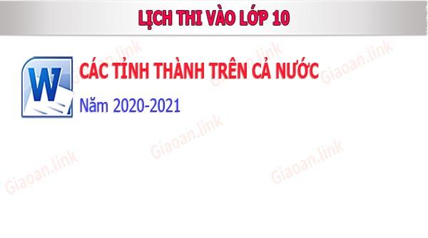 lich thi vao lop 10 nam 2020 - 2010